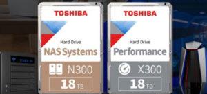Toshiba увеличивает ёмкость жёстких дисков N300 и X300 до 18 ТБ